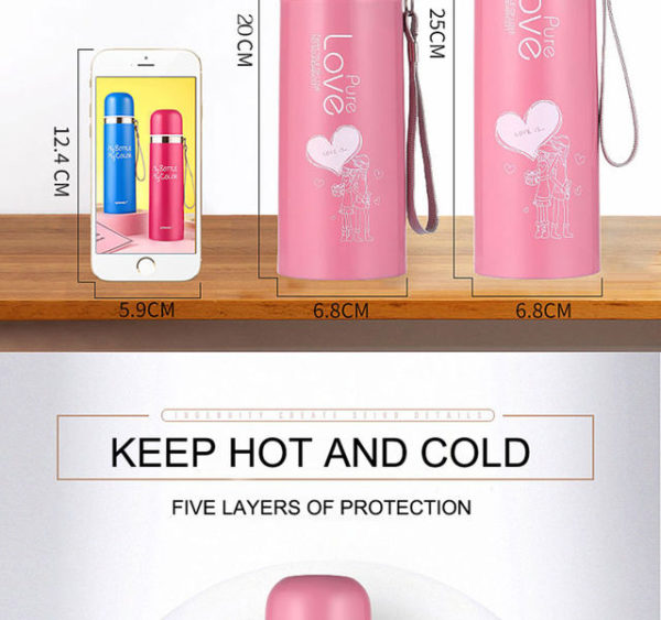 500ml For Bear Thermo Water Thermos Flask Vacuum Bottle Tea Stainless Women Thermocup Thermal Cup Steel Mug ZuTPXOki